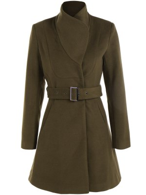 Belted High Neck Skater Coat - Army Green