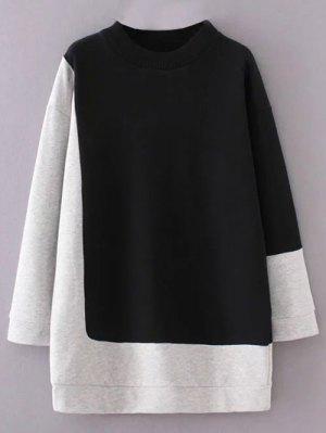 Mock Neck Color Block Sweatshirt - Black And Grey