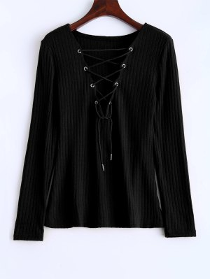 Ribbed Knit Lace Up Jumper - Black