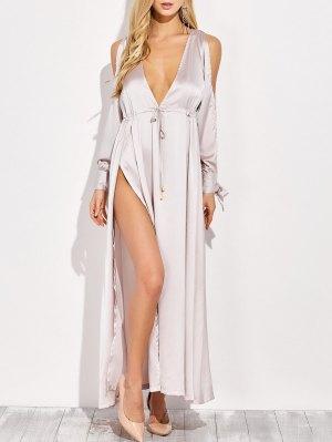 Thigh Split Cold Shoulder Maxi Plunge Dress - Apricot