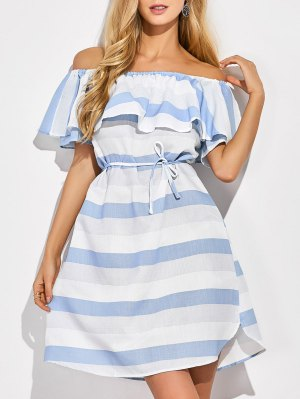 Ruffles Off The Shoulder Striped Dress - Blue And White