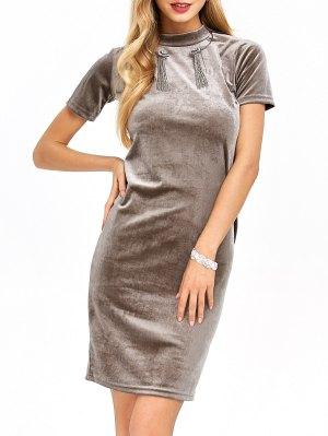 Short Sleeve Velvet Dress - Khaki