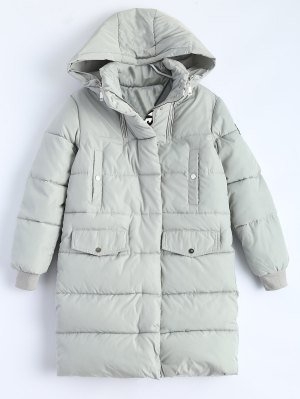 Hooded Quilted Padded Coat - Gray