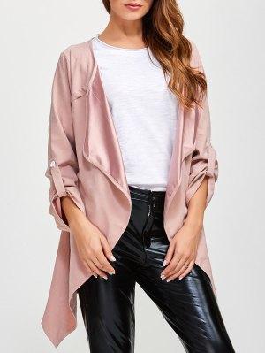 Drape Front Plus Size Coat - Pink