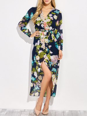 Floral V Neck Asymmetric Surplice Maxi Dress - Floral