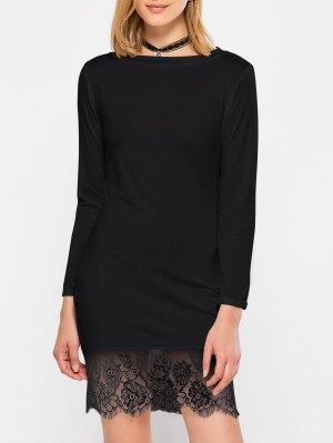 Lace Spliced Slash Neck Dress - Black