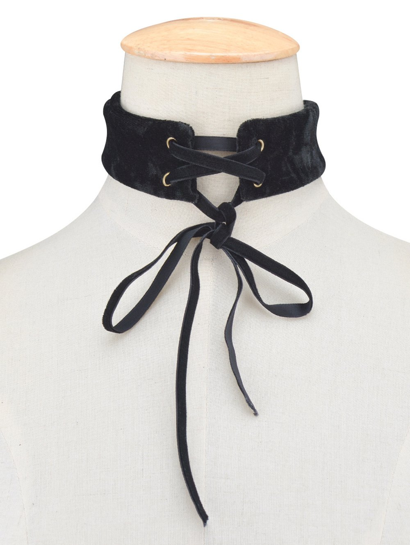 Adjustable Velvet Wide Choker NecklaceAccessories<br><br><br>Color: BLACK