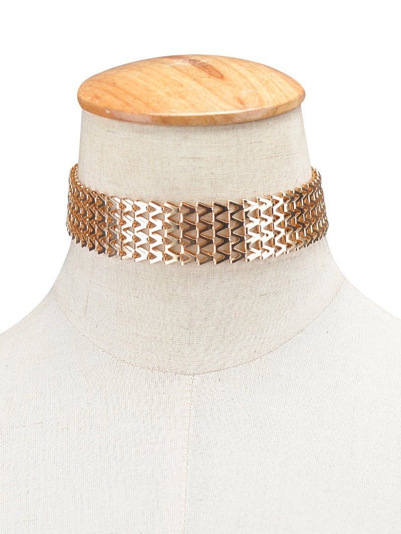 Geometric V Alloy Choker Necklace