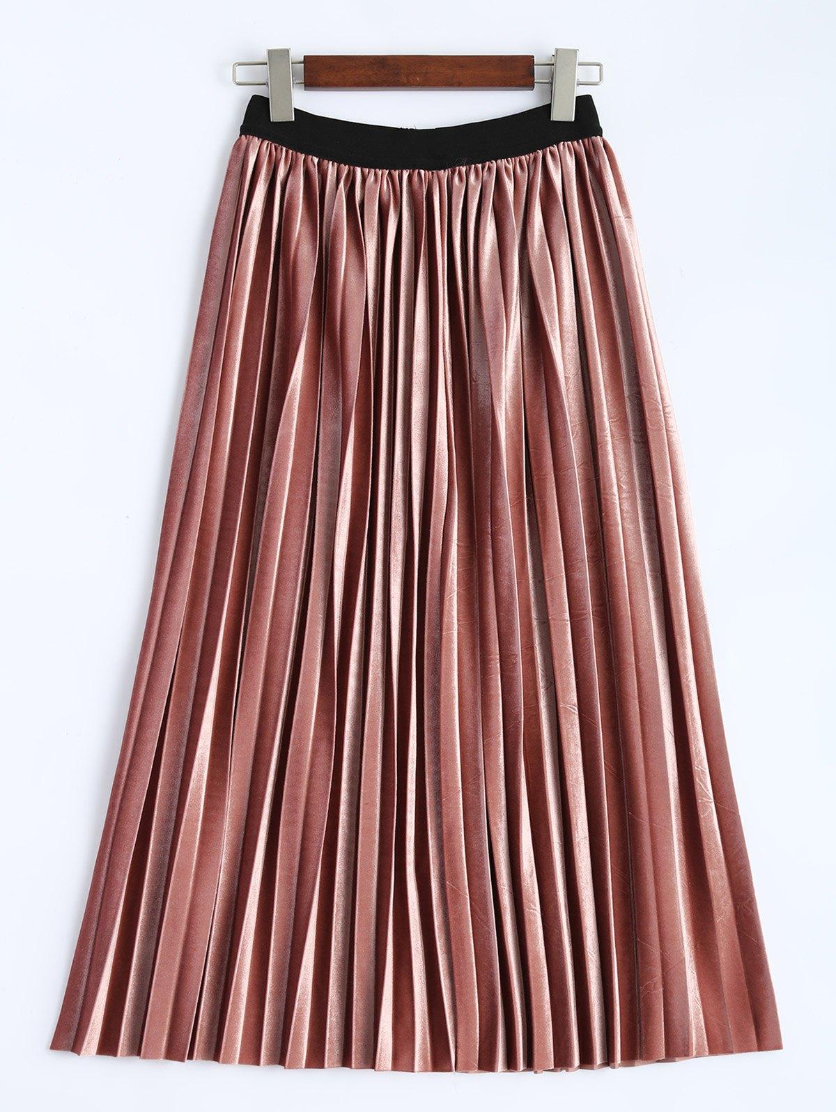 Accordion Pleat Velvet Skirt