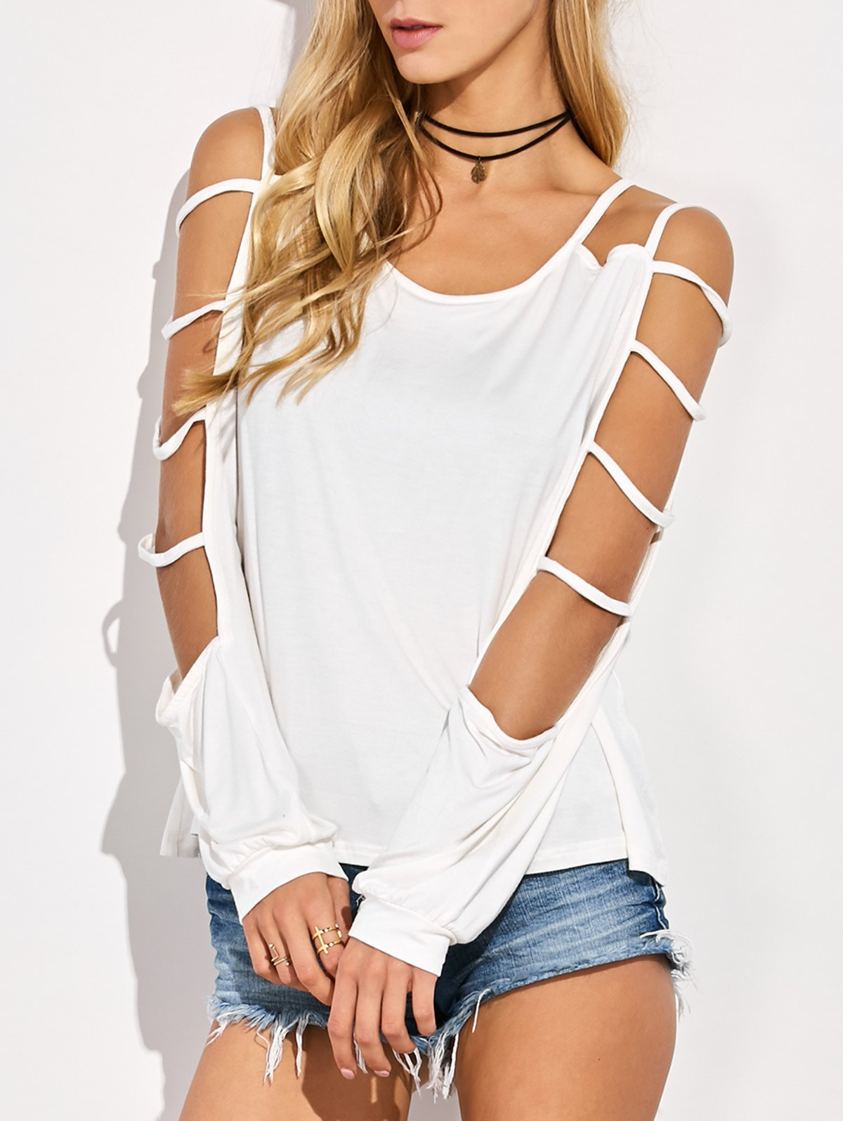 Cutout Sleeve Scoop Neck T-Shirt