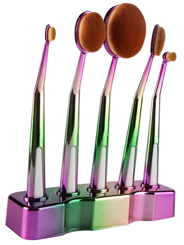 5 Pcs Ombre Toothbrush Shape Makeup Brushes Set with Brush Stand