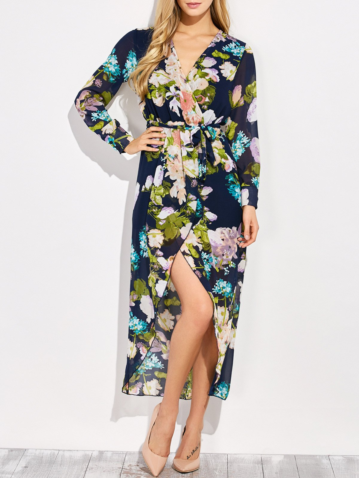V Neck Floral Asymmetric Surplice Maxi Dress