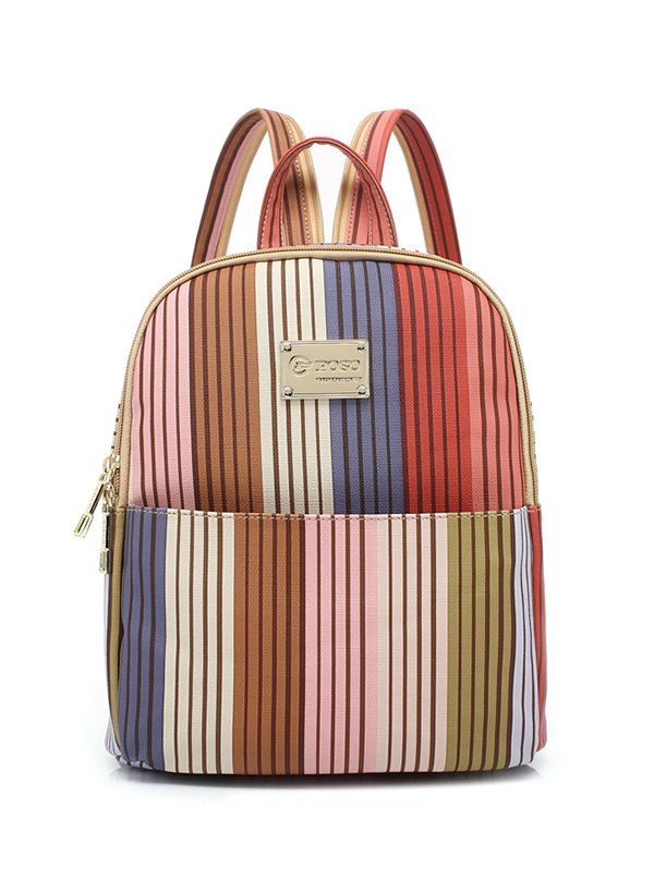 Striped Metal Backpack