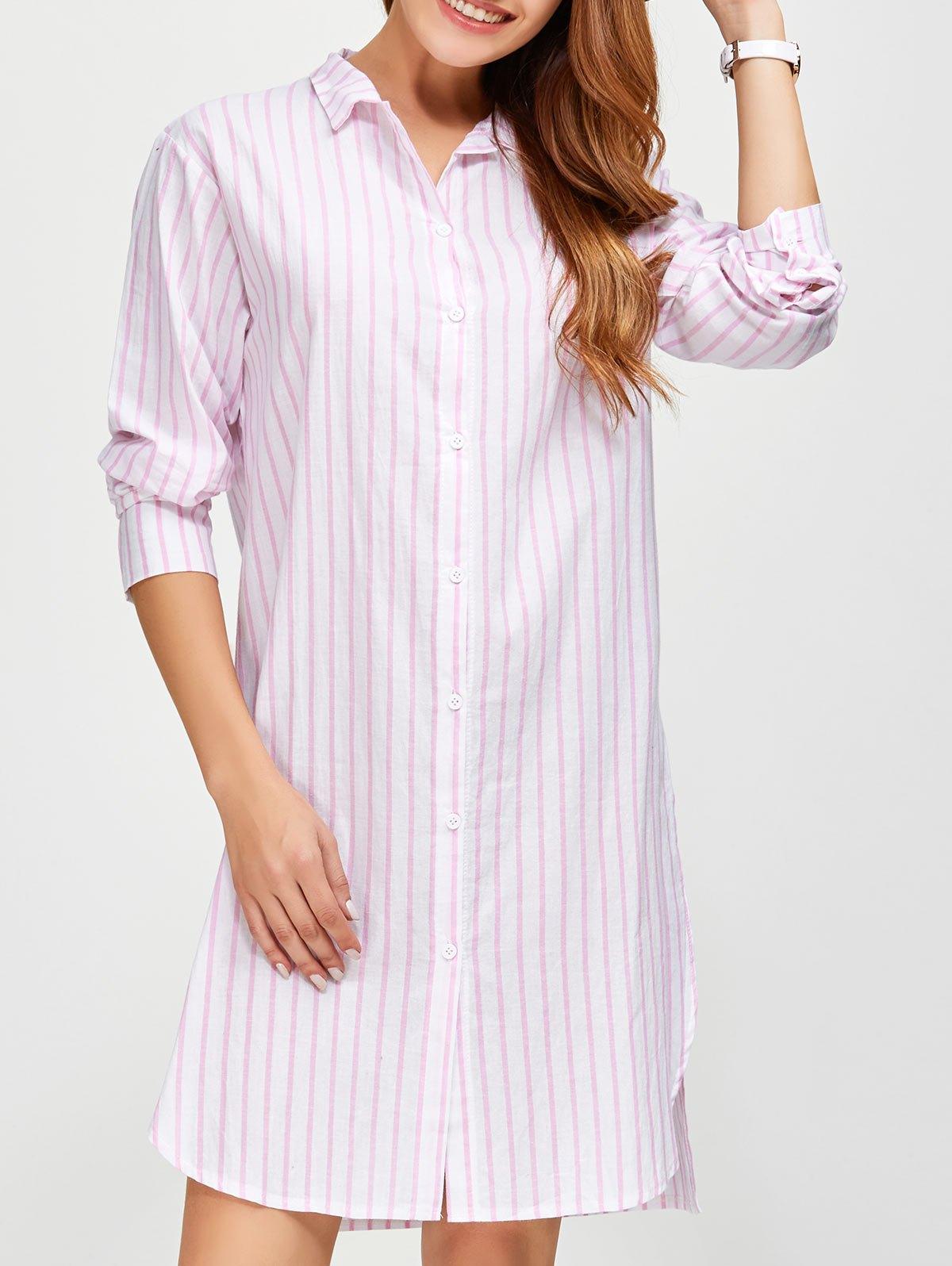 Long Striped Loose Slit Shirt