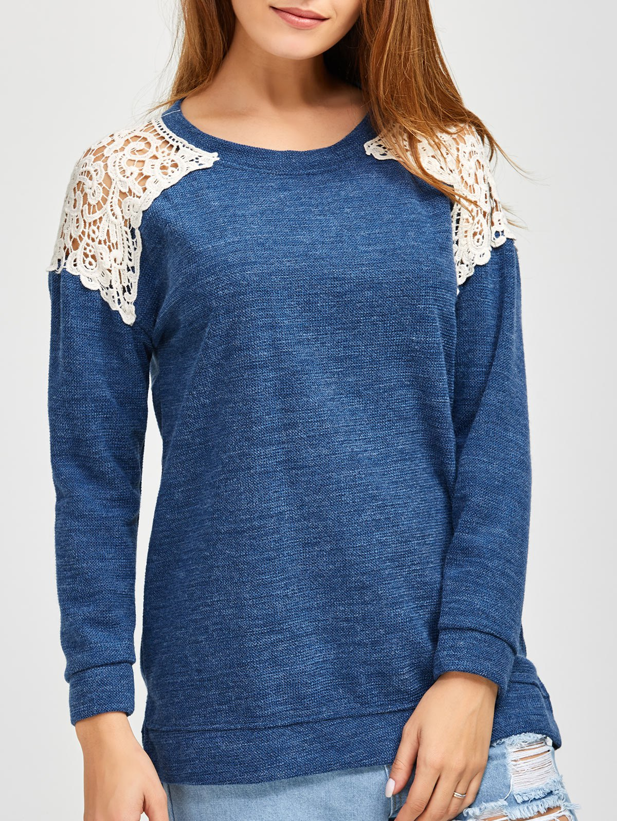 Slit Lace Splicing Loose Sweater