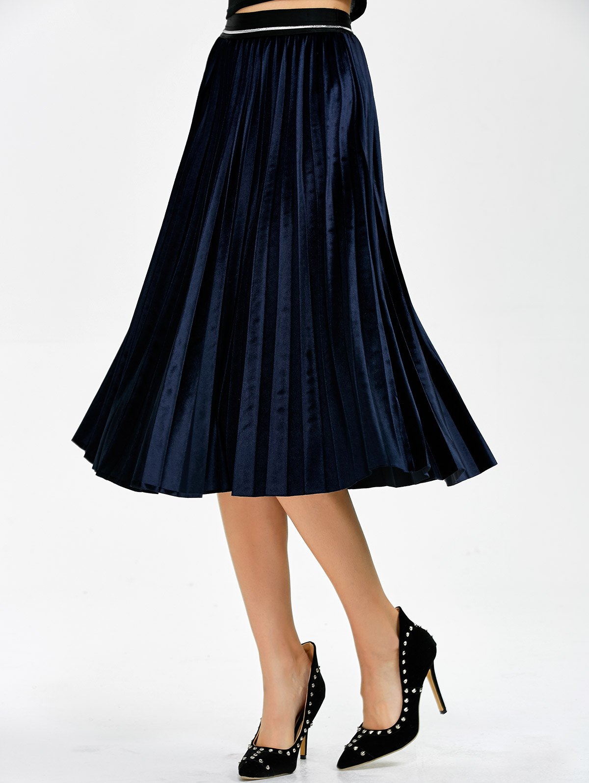 Pleated Midi Velvet Skirt