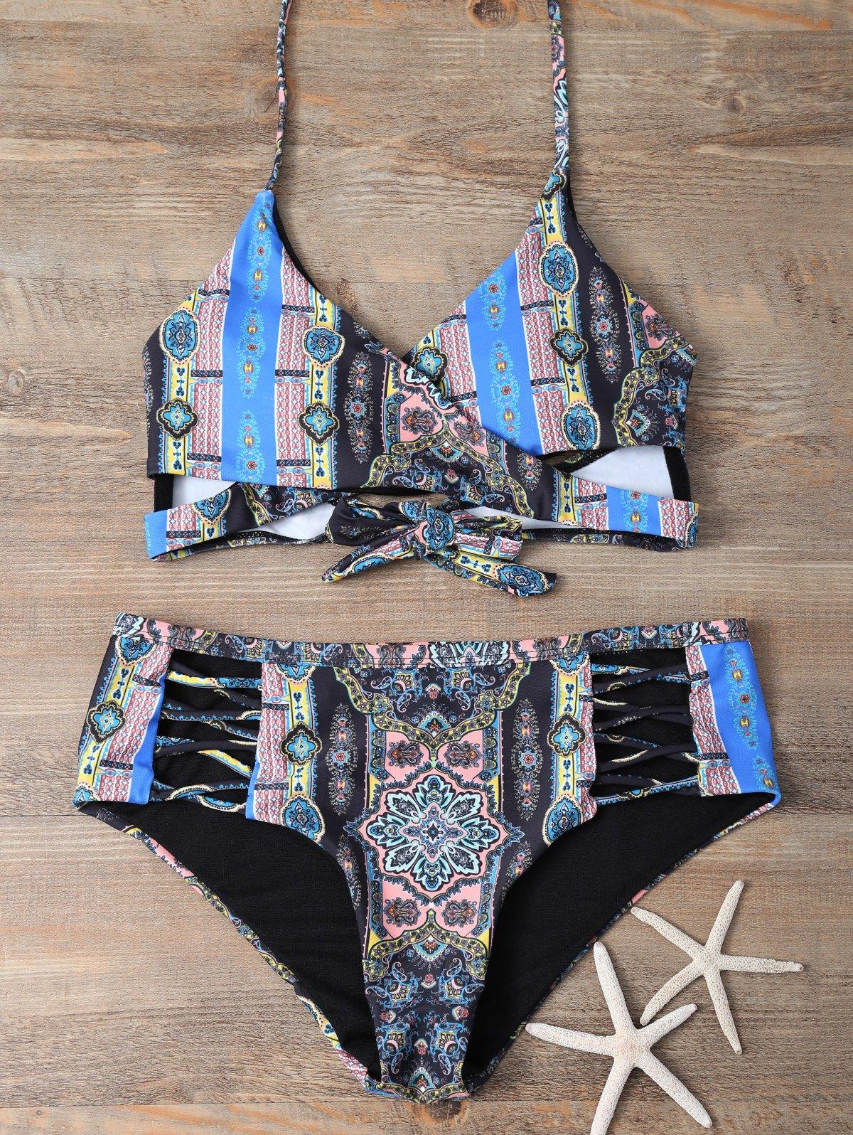 Retro Print Wrap Bikini Set