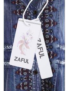 Embroidered Single-Breasted Midi Denim Dress - BLUE S