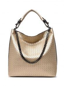 Argyle Double Buckle Chain Tote Bag - Golden