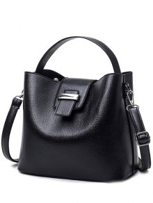 Magnetic Closure Textured Leather Metallic Tote Bag - Black