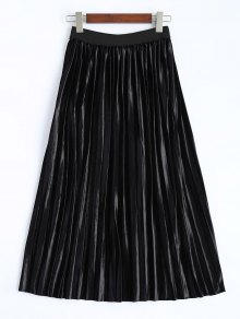 Shiny Pleated Midi Skirt - Black Xl