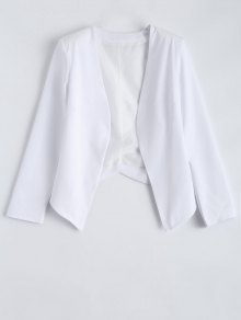 Collarless Open Front Blazer - White