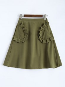 A Line High Rise Pockets Skirt - Army Green Xs