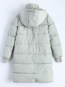 Hooded Quilted Padded Coat - GRAY XL