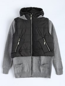 Contrast Knit Quilted Jacket