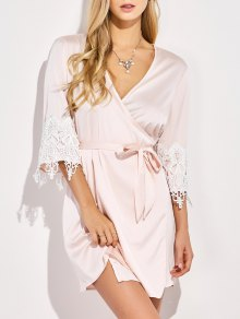 Lace Spliced Cosy Kimono - Pinkbeige