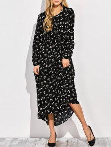 Scoop Neck Tiny Flower Maxi Shirt Dress - Black L