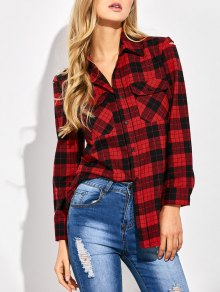 Tartan Print Casual Shirt - Red With Black M