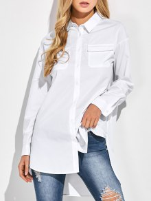 Oversized Boyfriend Shirt With Pocket - White M