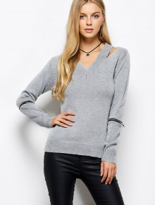 Zipper V Neck Sweater