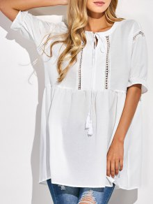 Oversized Cut Out Blouse - White
