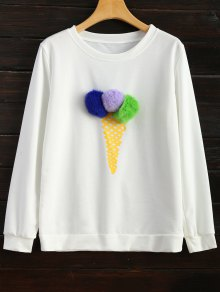 Buy Icecream Cone Pom Sweatshirt L WHITE
