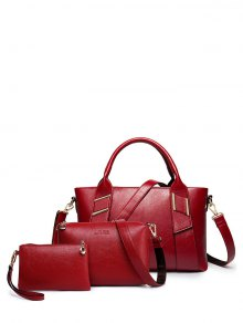 Textured PU Leather Handbag Set - Wine Red