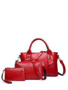 Buy Textured PU Leather Handbag Set RED