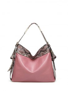 Snake Print Panel Shoulder Bag