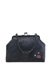 Ribbed Chain Kiss-Lock Closure Tote Bag - Deep Gray