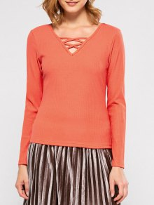 Ribbed Long Sleeve Lace Up Tee - Jacinth Xl