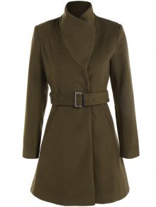 Belted High Neck Skater Coat