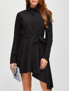 Asymmetric Long Sleeve Button Up Shirt Dress - Black Xl