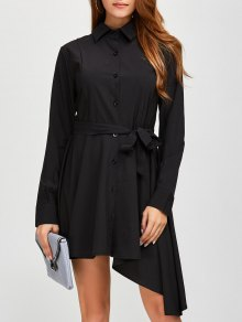 Asymmetric Long Sleeve Button Up Shirt Dress - Black