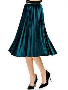 Accordion Pleat Velvet Skirt - Lake Blue