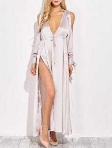 Thigh Split Cold Shoulder Maxi Plunge Dress - Apricot M