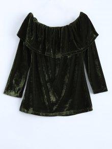 Velvet Off Shoulder Ruffles T-Shirt - Green M