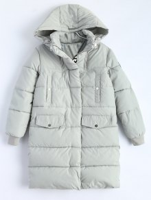 Hooded Quilted Padded Coat - Gray L