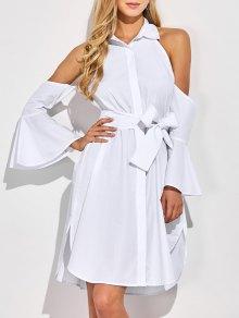 Cold Shoulder Vestido De La Camisa Acampanada Puños - Blanco 2xl