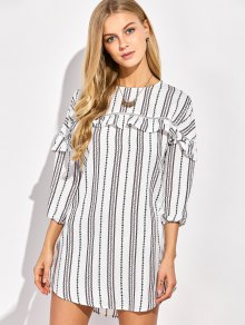 Round Neck Ruffles Striped Shift Dress - White L
